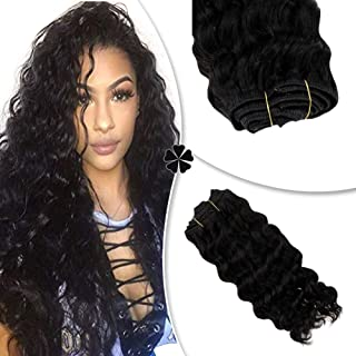 Hetto 10inch Black Human Hair Extensions Clip in Extensions #1B Off Black Hair Clip ins Hair Extensions Human Hair Seamless Clip on Hair Deep Wave Hair Extensions