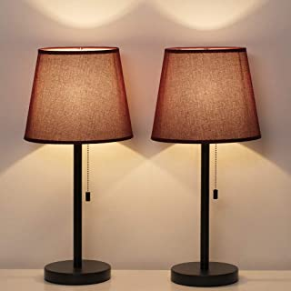 HAITRAL Bedside Table Lamp Set of 2 - Modern Nightstand Lamps with Red Wine Lamp Shade, Pull Chain Switch Desk Lamps for Bedrooms, Office, Living Room (HT-TH76-02X2)