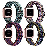 BOTNUW 4 Pack Elastic Bands Compatible with Fitbit Versa 2 /Versa/Versa SE/Versa Lite Wristbands Fitness Smart Watch, Soft Loop Nylon Adjustable Stretchy Replacement Straps for Women Men
