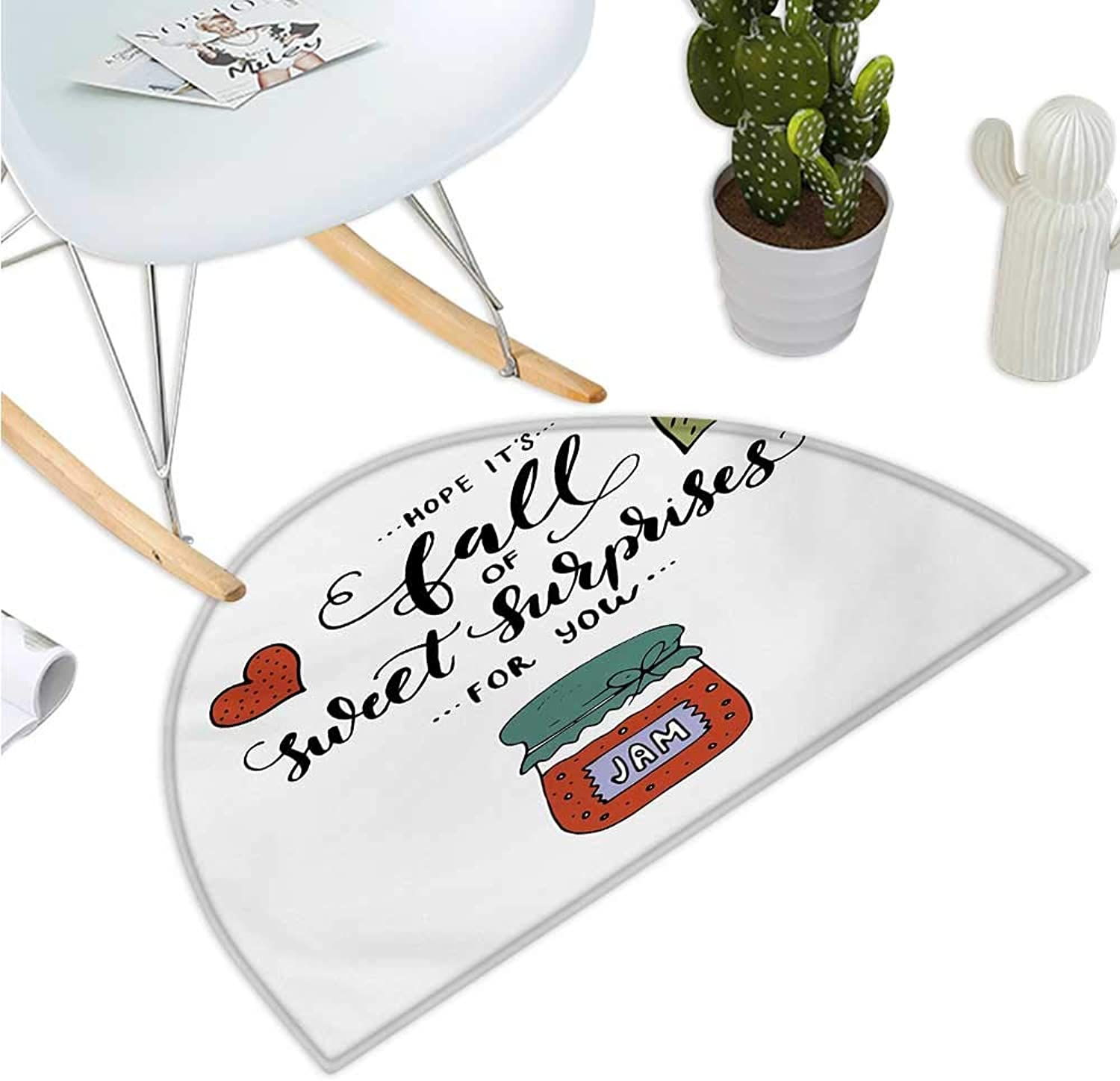 Hope Semicircular Cushion Hand Drawn Jam in a Jar Brush Lettering with Romantic Hearts Hope is Sweet Surprises Bathroom Mat H 43.3  xD 64.9  Multicolor