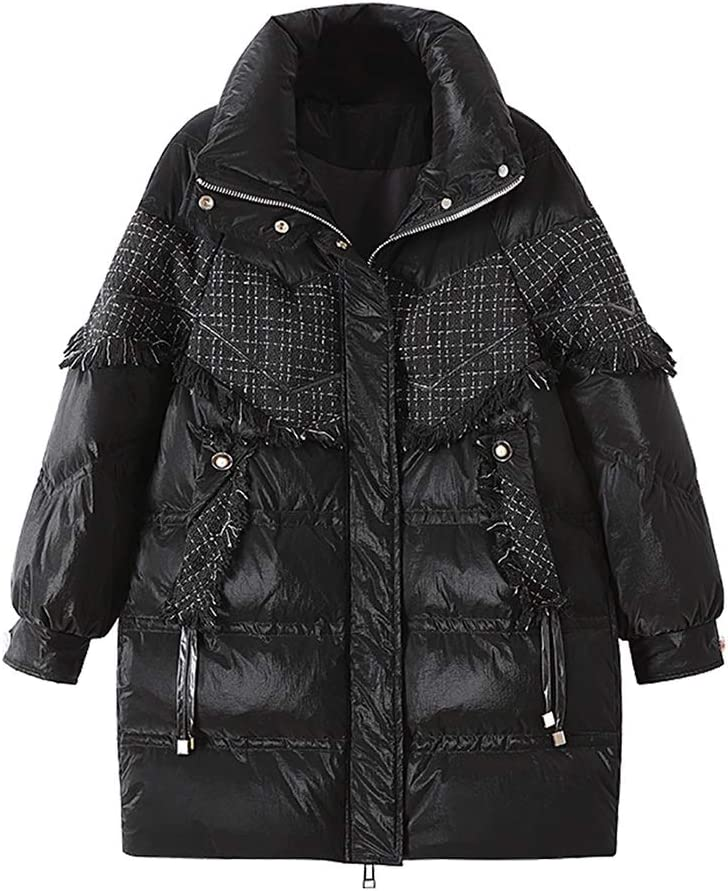 Women's Slim Down Jacket Winter Coats Quilted Parka Hight Neck Puffer Jacket Windproof Winter Coat (Color : Black, Size : Medium)