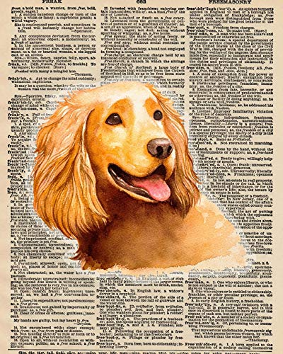 Notebook: 8x10 Inch Matte Softcover Paperback Journal With 120 Blank Lined College Ruled Pages, Upcycled Dictionary Cocker Spaniel Dog Cover Design