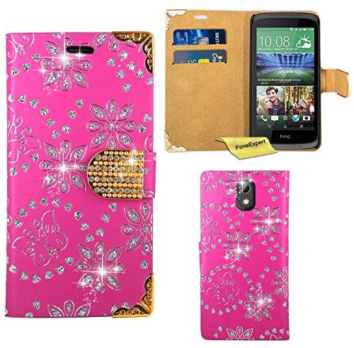 HTC Desire 526G Handy Tasche, FoneExpert® Bling Luxus Diamant Hülle Wallet Hülle Cover Hüllen Etui Ledertasche Premium Lederhülle Schutzhülle für HTC Desire 526G (Rosa)