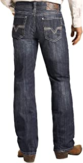 Mens Double Barrel Straight Leg Dark Wash Jeans
