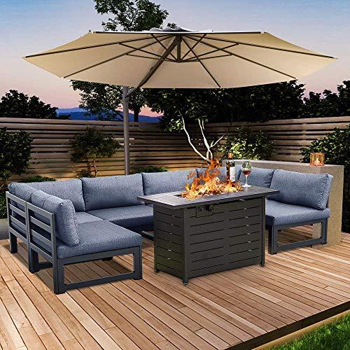 Hooseng 6pcs Patio Conversation Sofa Set Propane Fire Pits Table-60000BTU 42 inch Gas Patio Outdoor Companion-CSA&ETL Certifications | Engineering Aluminum Frame | Ergonomic Soft Cushions