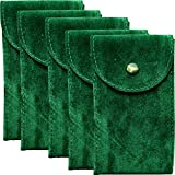 Green Velvet Watch Pouch w/Insert and Premium Microfiber Cloth 5-pack