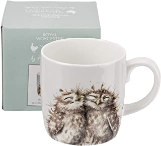 Wrendale Designs 'The Twits' Owl Mug by Royal Worcester Large 14 oz Bone China White color