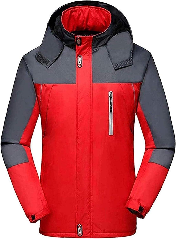 Mens Fishing Suit Ski Suit Front-Zip Hooded Waterproof Thick Rain Jacket