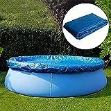 Hmpet Cobertor Piscina 183/244/305/366/457,Lona para Piscina Redonda,Cubierta de Piscina Hinchable Redonda con Amarres de Cuerda,Azul,366cm