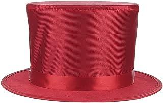 [Y-BOA] 折りたたみ シルクハット マジックハット 紳士帽 コスプレ 小物 帽子 マジシャン 魔術師 大人用 一発芸 手品 ハロウィン パーティー イベント レッド