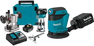 Makita XTR01T7 18V LXT Lithium-Ion Brushless Cordless Compact Router Kit with Makita XOB01Z 18V LXT Lithium-Ion Cordless 5-Inch Random Orbit Sander, Tool Only