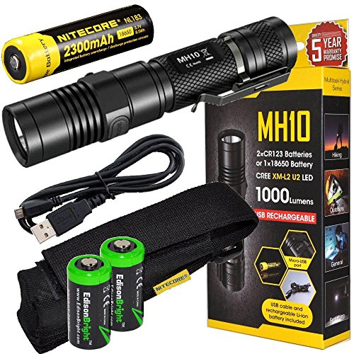 EdisonBright Nitecore MH10 CREE XM-L2 U2 LED 1000 Lumen USB Rechargeable Flashlight, 18650 Rechargeable Li-ion Battery, USB Charging Cable and Holster with 2 X CR123A Lithium Batteries