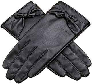 Ladies Leather Gloves Touch Screen Mittens Womens Soft Warm Velvety Lining Winter Gloves with One Tie Decoration (Black)