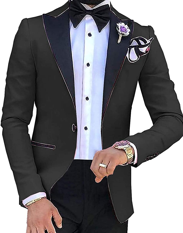 Men's Suit Groom Blazer Slim Fit One Button Sport Coat Casual Black Lapel Blazer Tuxedo Suit Jacket