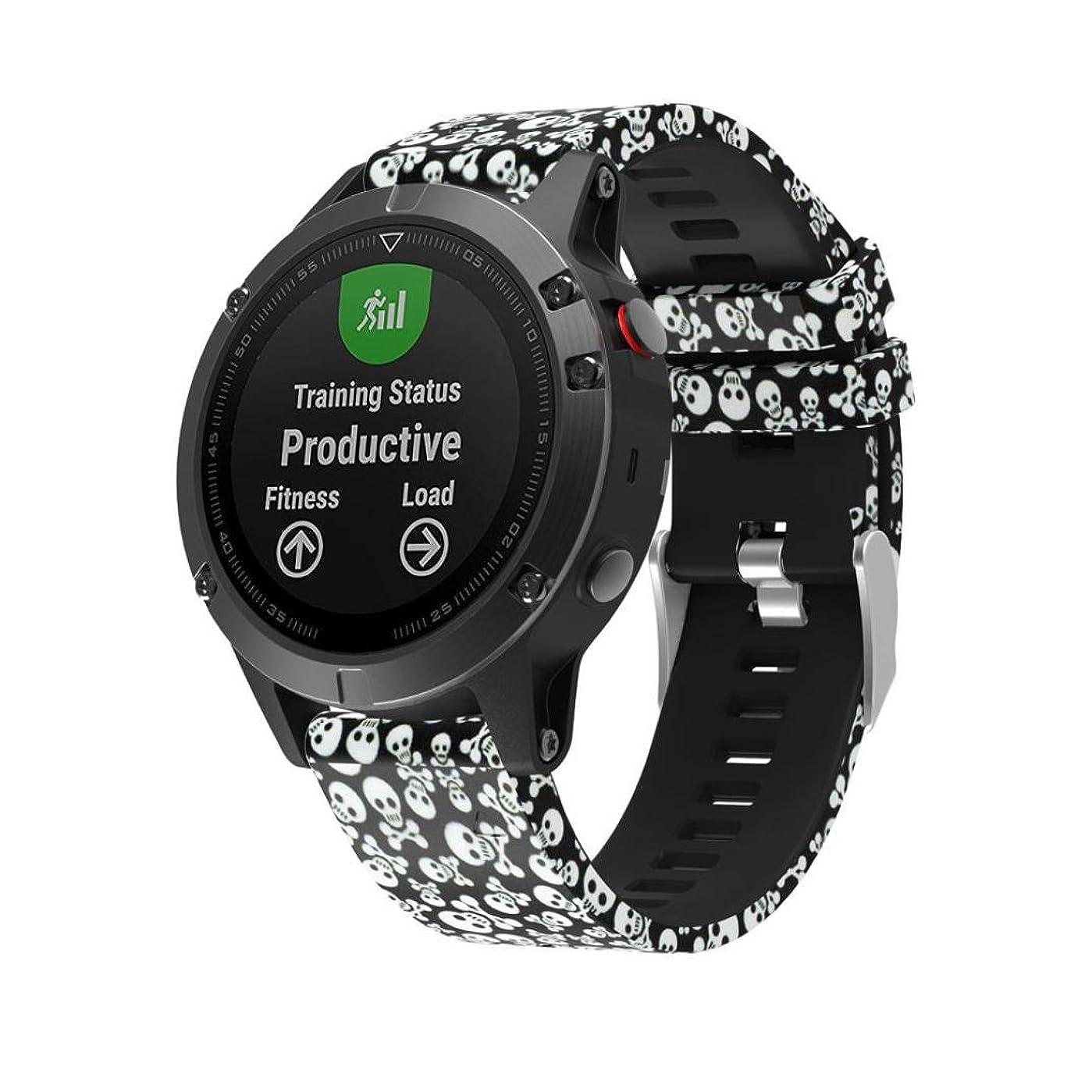 整然とした肩をすくめるメアリアンジョーンズvesnibaカラフルな新しいファッション印刷交換Silicagelクイックインストールソフト腕時計バンドストラップfor Garmin Fenix 5?GPS Watch 220MM C