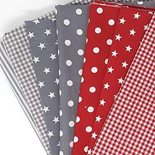 Sugarapple Stoffpaket Baumwolle, Stoffpaket Kinder | Patchwork Stoffe Paket, Stoffe zum Nähen 7 Stück (50 x70 cm) | 60 °C Wäsche, Öko Tex Standard 100 | gesamt 3,5 m x 70 cm | Mix Rot + Grau