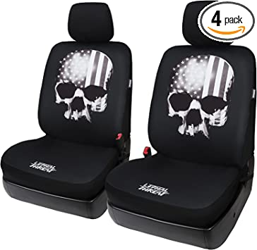 Universal Fit Fashion Skull Flag Front Car Seat Covers Set of 2 Black with Airbag - Leader Accessories: image