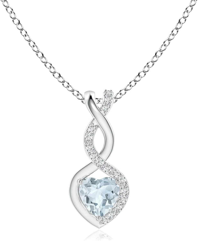 Aquamarine Dallas Mall Infinity Heart Pendant with Regular dealer Diamonds 4mm