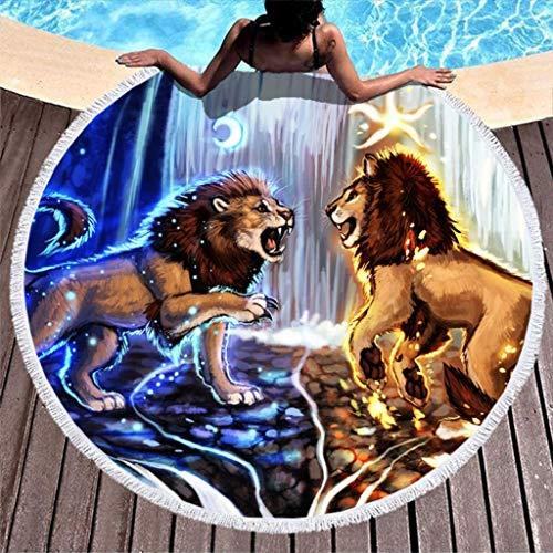 Fantasy Lion Moon Star Waterfall Print Toalla de Playa Redonda Absorbente de Agua con borlas Funda de sofá con Flecos Indios Blanco 59 pulgadas-Blanco-59 Pulgadas