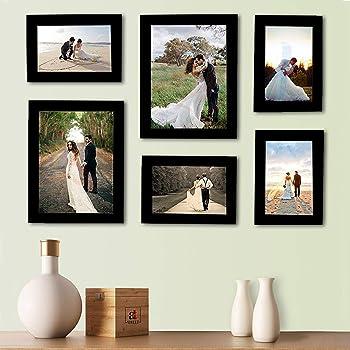 Bajarang Creations Set of 6 Individual Black Wall Photo Frames || Mix Size || (2 Units of 6 X 8, 4 Units of 4 x 6,),Inches ||