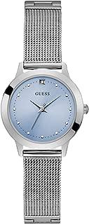 Stainless Steel Mesh Bracelet Watch with Sky Blue Genuine Diamond Dial. Color: Silver-Tone (Model: U1197L2)
