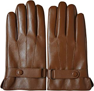 Men's Leather Gloves Lambskin Touchscreen Texting Warm Lined Driving Cold Weather Gloves Snap Closure Cycling Motorcycle Outdoor (2XL, brown)