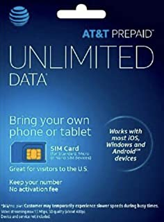 AT&T Prepaid Triple Cut Sim Card with $45 month unlimited data plan