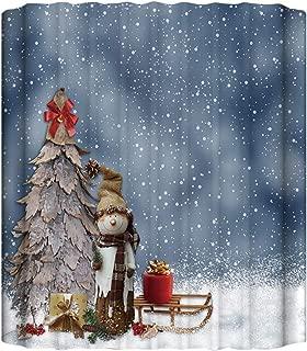 GoJeek Primitive Snowman Shower Curtain, Old Christmas Tree and Snowman Decoration Snowy Day Bathroom Decor