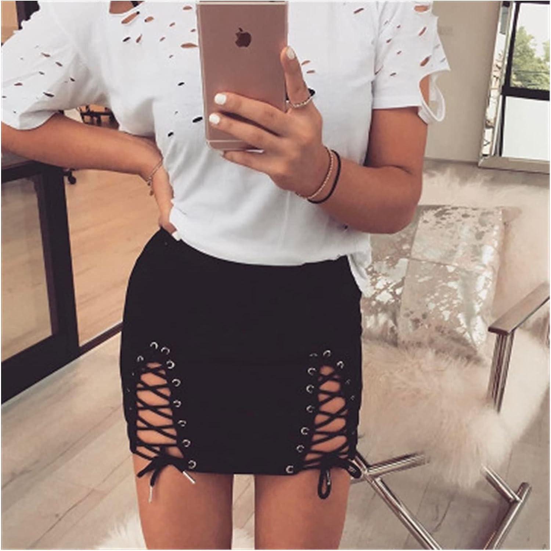 ZZYLHS Women Faux Leather Women Bandage Suede Fabric Skirt Elastic Short Skirt High Waist (Color : Black, Size : M.)