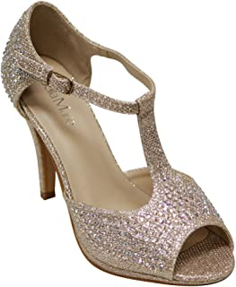 Shania-11 Women's peep Toe Rhinestone Glitter T- Strap Dance Sandals