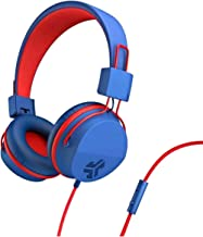 JLAB JBuddies Studio Wired Kids Headphones, The Wirecutter's Corded Headphone Pick for Older Kids and Safe Listening, Blue/Red