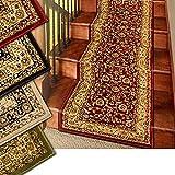 Marash Luxury Collection 25' Treppenläufer Teppiche Treppenteppichläufer mit 336.000 Points of Stoff pro Quadratmeter, Rot