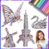 MIU COLOR 4 Pack 3D Puzzle Set with 24 Coloring Pen Markers, Fun Coloring Painting Animal and Building Model Toys, Ideal Gift for Boy and Girls Age 7 and Up(4 Pack)