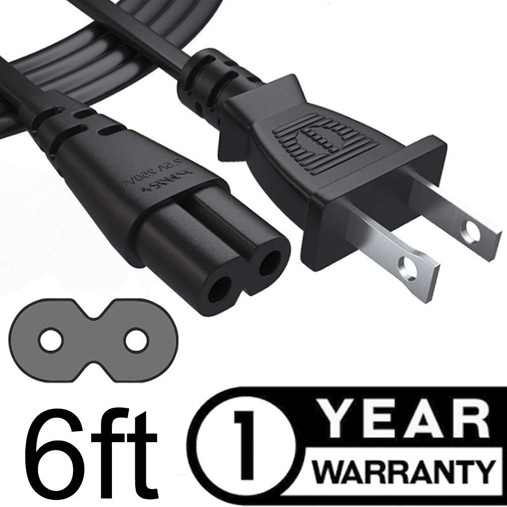 Universal 2 Prong AC Cable fits Playstation TV PS and Laptop Chargers Power Cord Dell Asus Lenovo Hp Samsung LG Sony Toshiba Acer Notebook Black