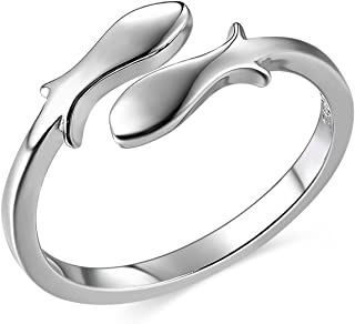 JEWME 925 Sterling Silver Women Fish Pisces Zodiac Constellations Open Tail Rings