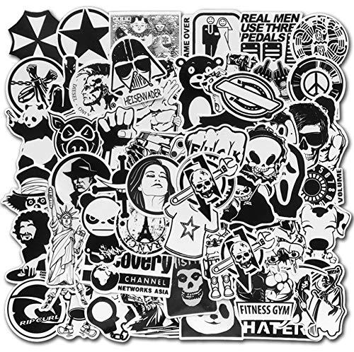 QIANGWEI Sticker, 60 stuks, wit en zwart, grappig stickerpakket, cool, laptop, motorfiets, gitaar, koffer, scooter