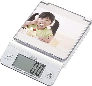 タニタ デジタルクッキングスケール 2kg(0.5g単位/1kgまで/自分好みの写真やイラストを計量皿に入れられる) ホワイト KD-191-WH