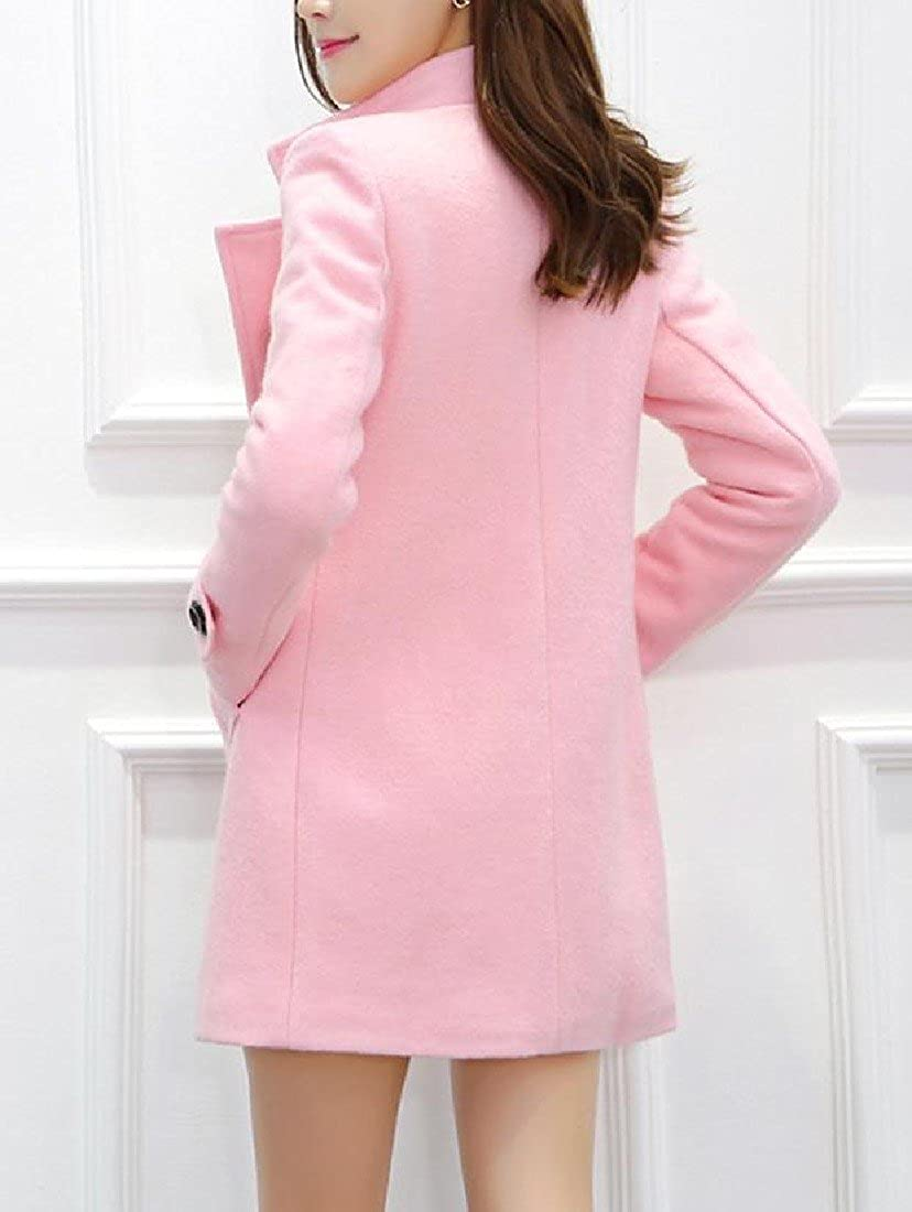 Comfy Womens Students Wool Peacoat Coat Slim Fit With Pocket Trench Coat