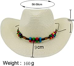 2019 Women Womens 2019 Straw Cowboy Hat Sun Hat for Women Fedora Hat Outdoor Beach Hat Sun Hat Colorful Beads Travel Outdoor Vacation Cushion (Color : Light Khaki, Size : 56-58CM)