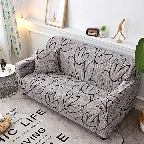Universal 3 plazas: fundas de sofá extensibles estampadas de cuatro estaciones, fundas de sofá antideslizantes con cobertura completa, tejido de Spandex de poliéster, fácil de instalar y quitar.