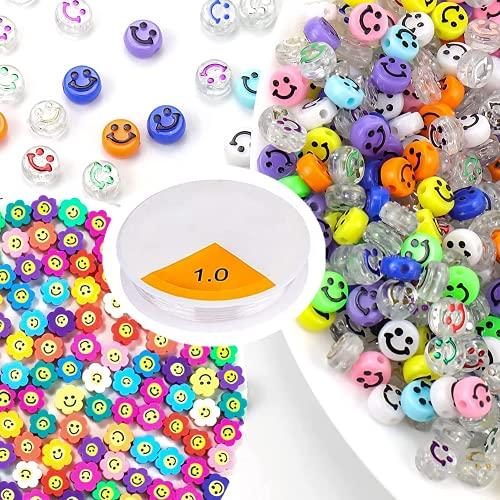 250 cuentas de cara sonriente para manualidades, para pulseras, collares, pendientes, anillos, decoraciones.