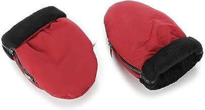 Manoplas para carro de bebé rojas con interior negro | Guantes de protección contra el frío y lluvia| Manoplas impermeables de invierno para pasear con el bebé