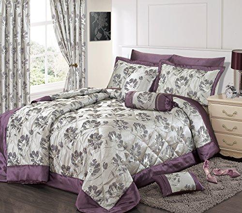 Intimates Home Bedding Store Couvre-lit en jacquard pour lit simple Violet/argenté Motif floral
