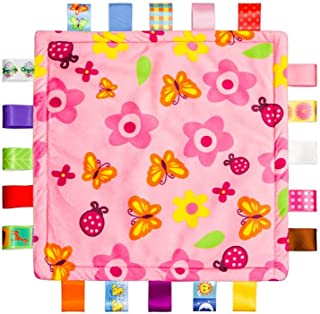 Colorful Ribbons Baby Taggy Blanket Comforter appese towel, Flower shape Kids Toddlers Security blanket