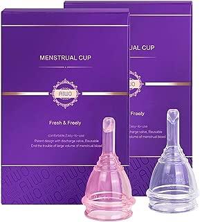AIWO copa menstrual - paquete estéril & válvula de descarga - vacía tu copa sin quitártela - talla pequeña copa menstrual organica hecha para mujeres que no han tenido hijos ( Rosado)