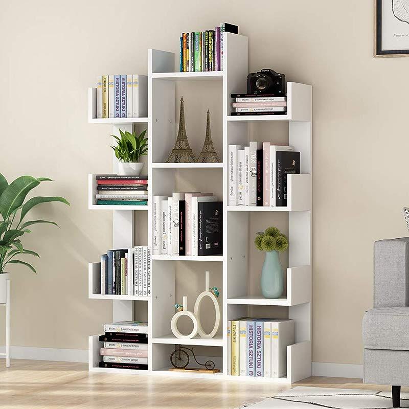 Tribesigns 12 Shelf Bookcase Modern Tree Bookshelf Book Rack Display Shelf Storage Organizer For CDs Records Books Home Office Deco White