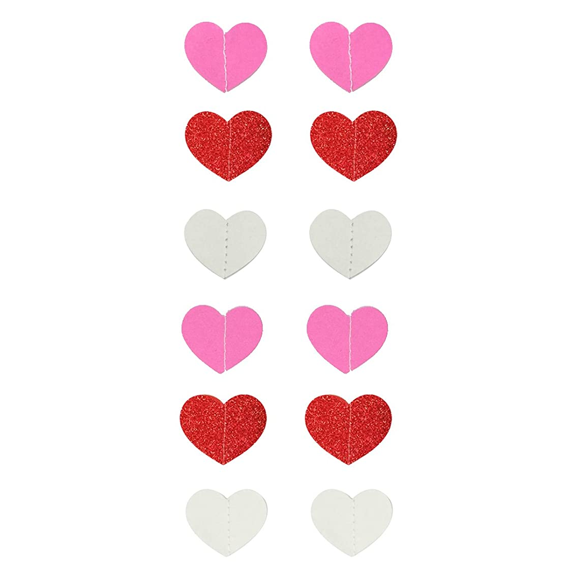 Wrapables 26ft Total Paper Heart Garland Weddings, Birthday Parties, Baby Showers, and Nursery Decor (Set of 2), Pink/Red/White