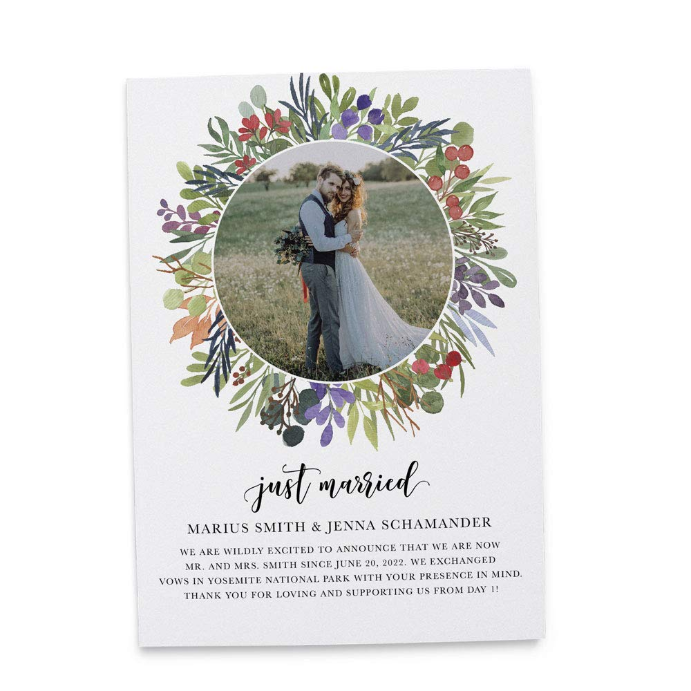 Just Married Nature Cheap sale Greenery Announcement Fla Wedding Elopement safety