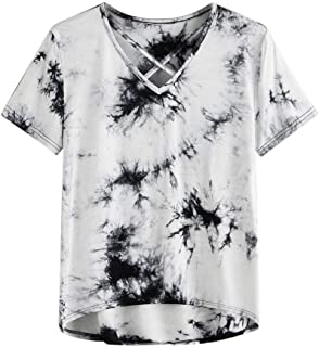 SADUORHAPPY Women's Casual Short Sleeve Solid Criss Cross Front V-Neck T-Shirt Tops Cross Tie Dyed Printed Top