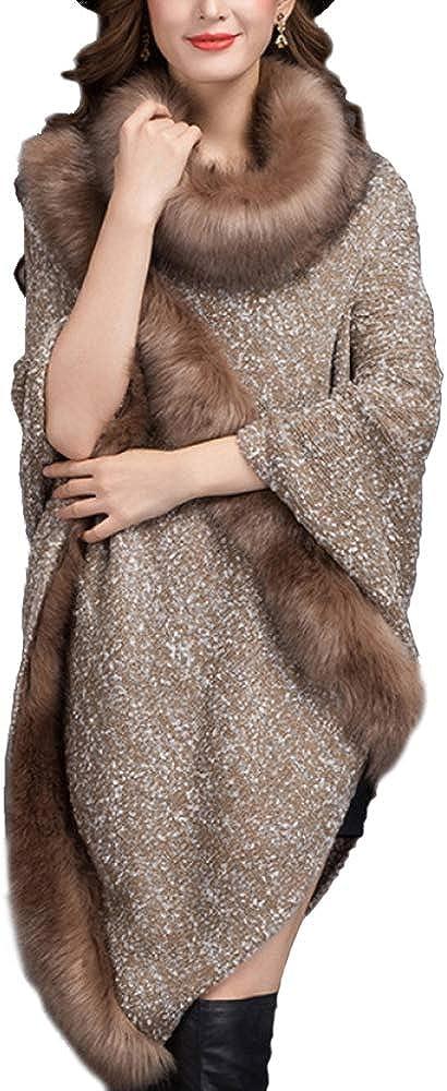 LIULIFE Autumn Winter Women's Shawl Round Neck Cloak Coat Faux Fox Fur Bat Shirt Cape Poncho